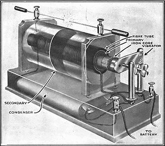 Induction coil - Induction coil showing construction, from 1920.