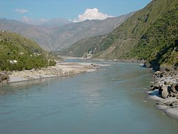 L'Indus vu depuis la route du Karakoram reliant le Pakistan à la Chine.