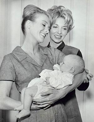 The Farmer's Daughter (TV series) - Inger Stevens (holding baby) and Beverly Garland, 1963.
