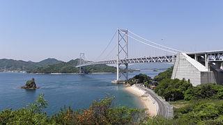 Innoshima Bridge suspension bridge on Seto Sea, Japan