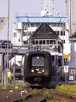 Puttgarden station - A EuroCity leaving ferry.