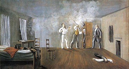 A 19th-century painting depicting the mob attack inside Carthage Jail Interior of Carthage Jail by C.C.A. Christensen (cropped).jpg
