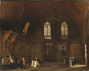 Melmoth the Wanderer - Melmoth, or Interior of a Dominican Convent in Madrid, illustrating Alonzo Monçada's story from the novel. Eugène Delacroix, oil on canvas, 1831.