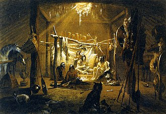 "Earth shelter - ""The interior of the hut of a Mandan Chief"": aquatint by Karl Bodmer from the book ""Maximilian, Prince of Wied's Travels in the Interior of North America, during the years 1832–1834"""