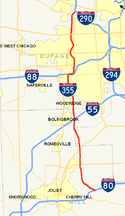 Interstate 355 map.