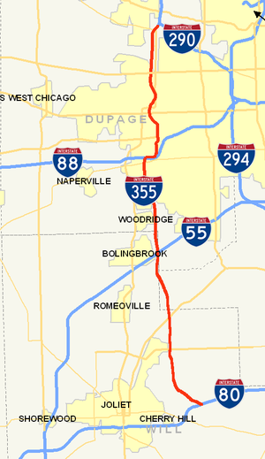 Interstate 355 - Detailed map of I-355