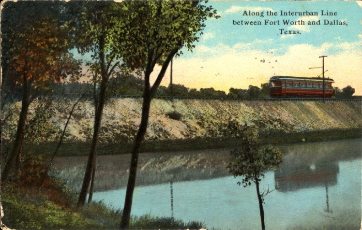 Interurban Line between Fort Worth and Dallas, Texas