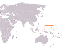 Map indicating locations of Israel and Federated States of Micronesia