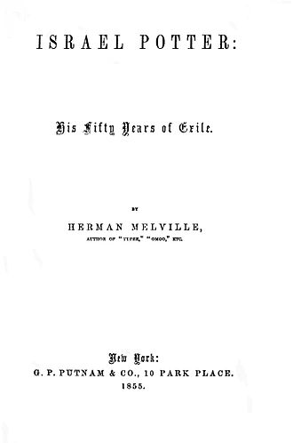 Israel Potter - First edition title page