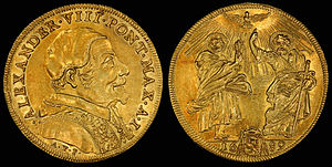 Pope Alexander VIII - Image: Italy Papal States 1689 I Quadrupla Scudo d'Oro
