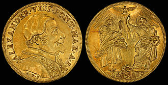Italian scudo - Papal States, Quadruple Scudo d'Oro (1689) depicting Pope Alexander VIII (obv) and Saints Peter and Paul (rev)