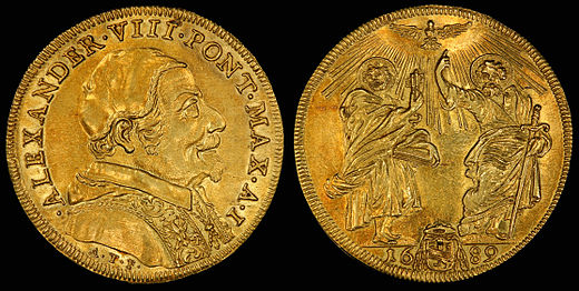 Pope Alexander VIII depicted on a gold quadruple Italian scudo from 1689. Saints Peter and Paul on the reverse. Engraved by Antonio Travani, a goldsmith and medalist in Rome. Italy Papal States 1689-I Quadrupla Scudo d'Oro.jpg