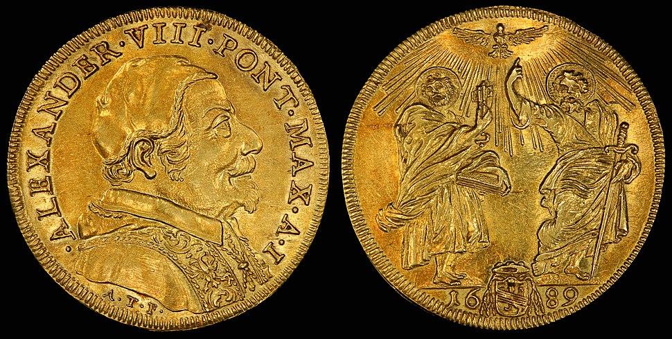 Italy Papal States 1689-I Quadrupla Scudo d'Oro