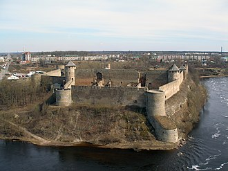 Kingiseppsky District - The Ivangorod Fortress from the left bank of the Narva River.