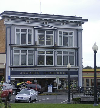 Arcata, California - The Jacoby Building, commonly known as Jacoby's Storehouse, on the Plaza in Arcata, is one of Humboldt County's oldest commercial buildings (the first floor dates from 1857), and is also on the National Register of Historic Places.