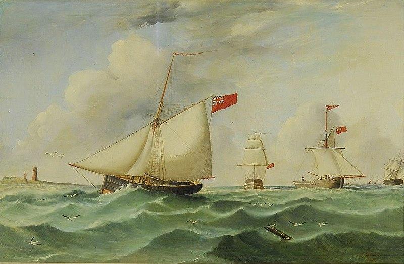 File:James H. Wheldon - Ships navigating a busy channel.jpg
