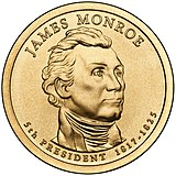 James Monroe Presidential $1 Coin obverse