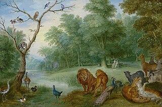 Le Paradis avec la chute d'Adam et Éve