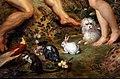 Jan bruegel il vecchio e rubens, il giardino dell'eden con cacciata, 1615 ca. 04 conigli e cagnolinio.jpg