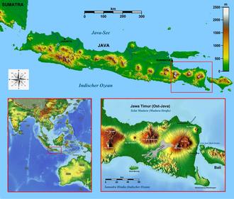 Eastern salient of Java - Image: Java Locator Topography Ijen