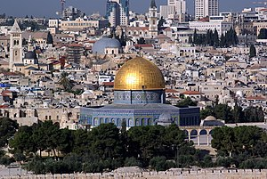 Jerusalem in Islam - The Dome of the Rock, built during Umayyad Caliphate, in Al-Haram Ash-Sharif, Jerusalem.