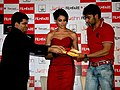 Jitesh Pillai, Ajay Devgan and Bipasha Basu at the launch of Filmfare (8).jpg