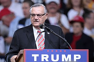 Joe Arpaio - Arpaio speaking at a campaign rally for Donald Trump in Phoenix, Arizona