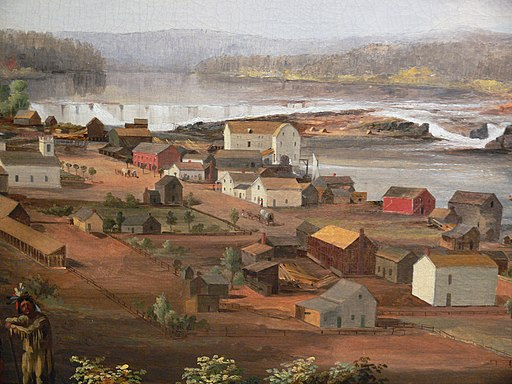 """""""Oregon City on the Willamette River"""" by John Mix Stanley"""