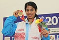 Joshana Chinappa (India) winner of Gold Medal of the Women's Squash, during the presentation ceremony, at the 12th South Asian Games-2016, in Guwahati on February 08, 2016.jpg