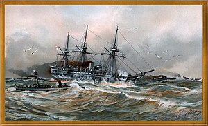 SMS Blücher (1877) - Blücher in heavy seas with a torpedo boat