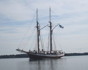 Galeas - Finnish galeas Ihana with her sails down.