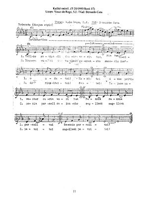 Konkani liturgical music - A Konkani hymn with staff notation