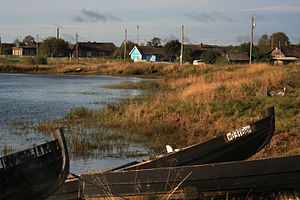 Kalevalsky District - Karelian folk boats in the village of Yushkozero, Kalevalsky District