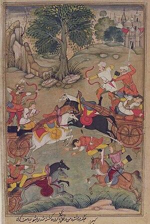 Kekaya - Karna Slays the Kaikeya Prince Vishoka-Razmnama