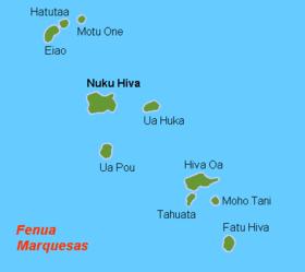 Carte des îles Marquises.