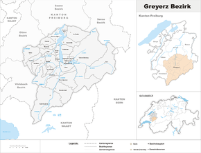 Map of Gruyères district