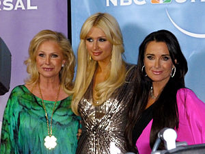 Kyle Richards - Left to right, half-sister Kathy Hilton, Hilton's daughter Paris Hilton and Kyle Richards at NBC party, February 2011.