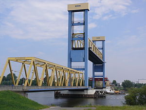 Vertical-lift bridge - Kattwyk Bridge, in Hamburg, Germany, with its lift span raised