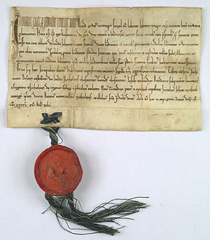 Ląd Abbey - A charter dated 17 June 1241, in which Prince Casimir I of Kuyavia gives to abbot Jan and the Cistercian monastery of Ląd the villages of Głowiew i Wrąbczyn and confirms upon both villages the same immunities that he had given to other villages belonging to the monastery