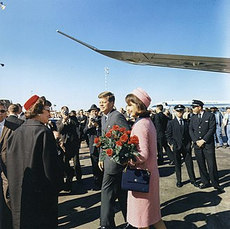 History of Dallas - President Kennedy and his wife Jackie arriving at Love Field, Dallas, Texas, November 22, 1963