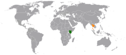 Map indicating locations of Kenya and Thailand