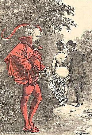 "Compromise of 1877 - A political cartoon by Joseph Keppler depicts Roscoe Conkling as a character Mephistopheles (the Devil) while Rutherford B. Hayes strolls off with the prize of the ""Solid South"" depicted as a woman. The caption quotes Goethe: ""Unto that Power he doth belong Which only doeth Right while ever willing Wrong."""