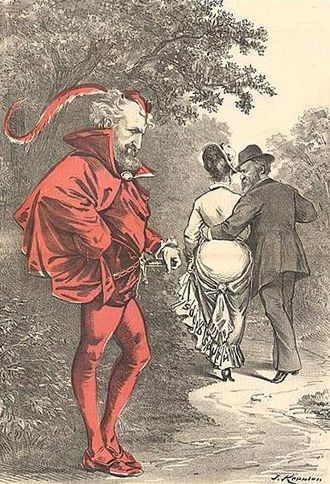 "44th United States Congress - A political cartoon by Joseph Keppler depicts Roscoe Conkling as Mephistopheles, as Rutherford B. Hayes strolls off with a woman labeled as ""Solid South"""