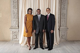 Eswatini–United States relations - Michelle Obama, Mswati III and Barack Obama (left to right)