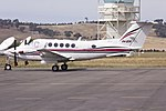 Kirkhope Aviation (VH-ZOK) Beechcraft Super King Air B200 parked on the tarmac Wagga Wagga Airport.jpg