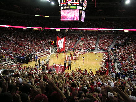 Men's basketball game as seen from the student section at the Kohl Center Kohl Center inside.jpg