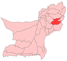 Localisation du district de Kohlu au sein de la province du Baloutchistan.