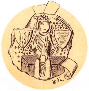 Olaf II of Denmark - Olaf's royal seal, with the shield of Norway (left) and Denmark (right).