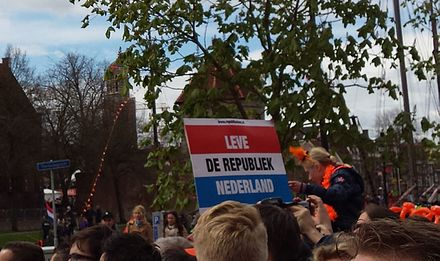 Republican protest at Koningsdag 2016 in Zwolle. Koningsdag 2016 republikeins protest Zwolle.jpg