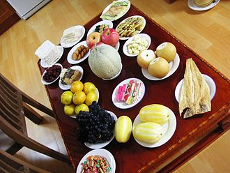Chuseok - Another table with many traditional food offerings on it